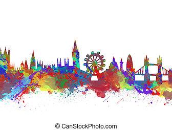 akwarela, londyn, sylwetka na tle nieba, druk, sztuka
