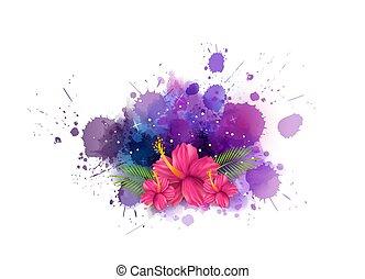 akwarela, malwa, tło, kwiaty