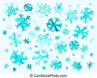 akwarela, płatki śniegu