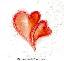 akwarela, painting., hearts., czerwony