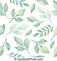 akwarela, pattern., seamless, zielony