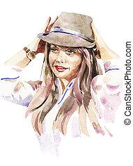 akwarela, portret, kapelusz, dziewczę