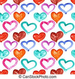 akwarela, serca, wielobarwny