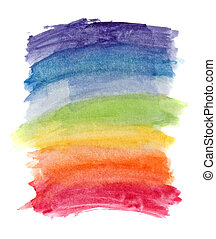 akwarela, tęcza, abstrakcyjny, kolor, tło