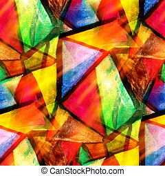 akwarela, trójkąt, kolor, próbka, abstrakcyjny, seamless, ...