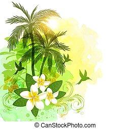 akwarela, tropikalny, zielone tło, dłonie