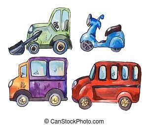 akwarela, wóz, komplet, majchry