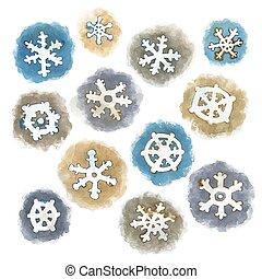 akwarela, wektor, komplet, płatki śniegu