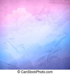 akwarela, wektor, niebo, pochmurny, tło