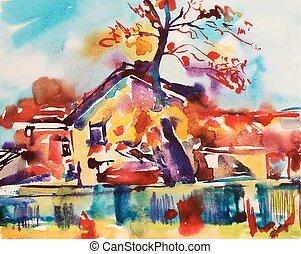 akwarela, wiejski, abstrakcyjny, oryginał, krajobraz