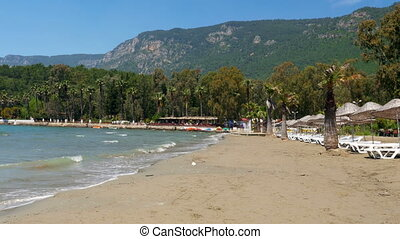 """Akyaka, Turkey, beach, sunbed, Daily life Summer Travel Destination"""