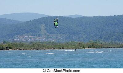 """Akyaka, Turkey, Kitesurfer Kite Surfing at sea"""