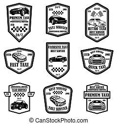 aláír, állhatatos, flyer., szolgáltatás, címke, taxi, poszter, emblems., tervezés, vektor, ábra, jel, kártya, alapismeretek