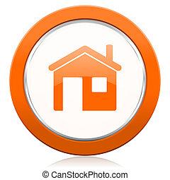 aláír, épület, narancs, ikon, otthon