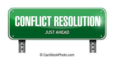 aláír, döntés, út, ábra, konfliktus