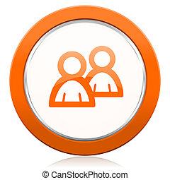 aláír, emberek, narancs, fórum, ikon
