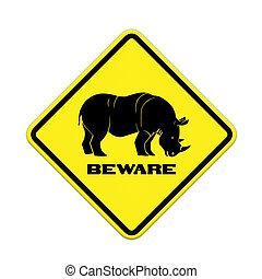 aláír, figyelmeztetés, orrszarvú, út