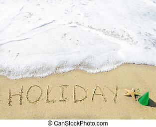 """aláír, """"holiday"""", képben látható, a, sandy tengerpart"""