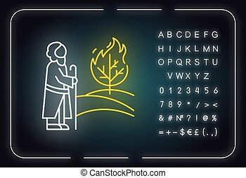 aláír, izzó, sztori, neon, icon., flame., ábra, vallásos, legend., égető, abc, jós, fény, narrative., symbols., bokor, bibliai, fa, vektor, elszigetelt, mózes, számok, biblia