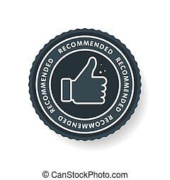 aláír, transzparens, lapozgat feláll, ábra, recommended., címke, elszigetelt, icon., egyenes, legjobb, vektor, ajánlott, feláll., márka, háttér., brend., nagy, címke