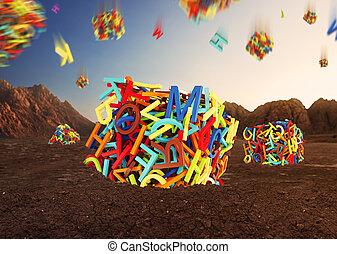 aléatoire, cubes, lettres, former, multicolore