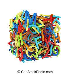 aléatoire, former, cube, lettres, multicolore
