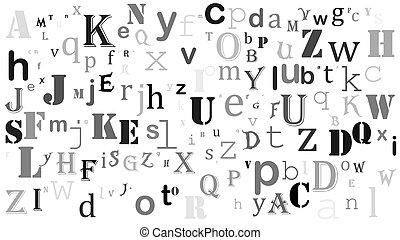 aléatoire, lettres, anglaise, alphabet, fond, conception, blanc