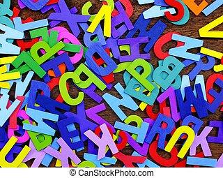 aléatoire, lettres, coloré, letterpress