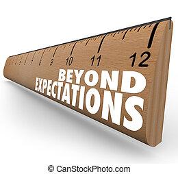 além, expectations, régua, exceed, resultados, grande, trabalho