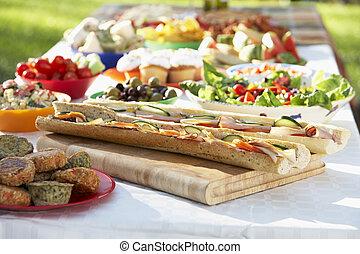 al 壁畫, 吃晚飯, 由于, 食物, 放置, 在外, 上, 桌子