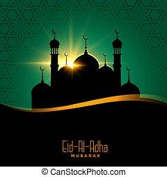 al, adha, diseño, mezquita, plano de fondo, hermoso, eid