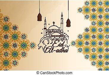 al-adha, eid, tarjeta, saludo