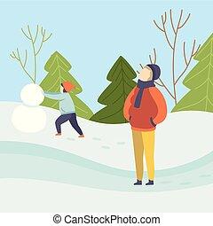 al aire libre, actividades del invierno, gente, estación, ilustración, snowman, vector, paisaje, plano de fondo, elaboración, niños