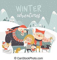 al aire libre, activities., invierno, gente, estación, plano de fondo, characters., tenga diversión