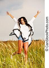 Al aire libre, belleza, naturaleza, libertad, libre, mujer, niña, el gozar, feliz