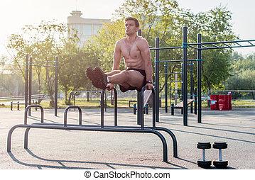 al aire libre, exercise., trabajando, pierna, atleta, joven...
