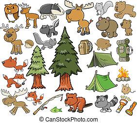 al aire libre, fauna, campamento, vector, conjunto