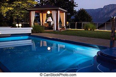 al aire libre, gazebo, lujo, piscina