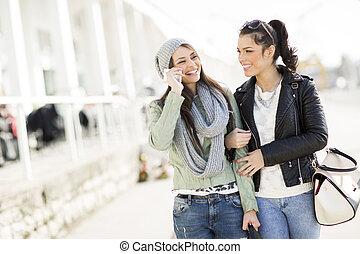 Al aire libre, joven, bastante, mujeres