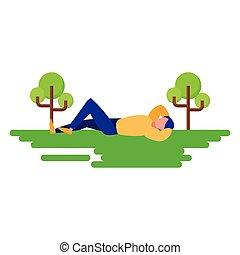 al aire libre, natural, relajado, abajo, acostado, hombre