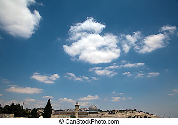 Al-Aqsa mosque in the old city of Jerusalem as viewed from the rooftops of the Jewish Quarter.