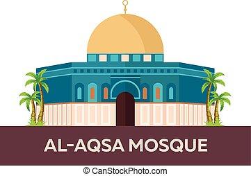 Al-Aqsa Mosque. Israel, Jerusalem. Vector flat illustration....