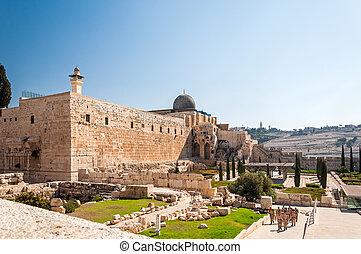 Al-Aqsa Mosque of Omar view western wall in Jerusalem