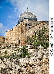 Al-Aqsa Mosque view, Tenple Mount, Old Jerusalem