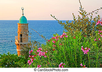 Al-Bahr Mosque or Sea Mosque in Old City of Jaffa, Tel-Aviv, Israel in the evening. It is the oldest extant mosque in Jaffa, Israel