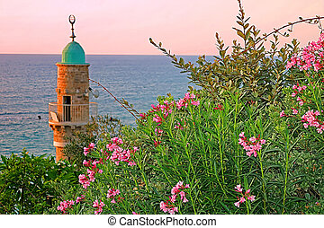 Al-Bahr Mosque or Sea Mosque in Old City of Jaffa, Tel-Aviv, Israel on the sunset. It is the oldest extant mosque in Jaffa, Israel