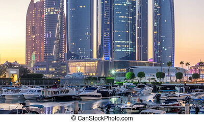 Al Bateen marina Abu Dhabi day to night timelapse with...