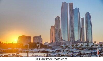 Al Bateen marina Abu Dhabi timelapse with modern skyscrapers...