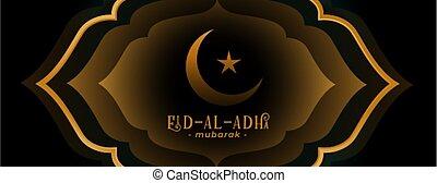 al, fiesta, adha, diseño, decorativo, bandera, islámico, eid