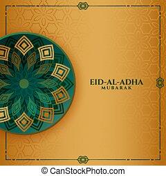al, fiesta, adha, diseño, saludo, islámico, eid